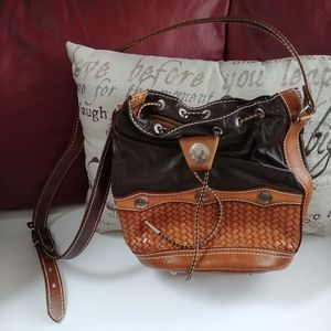 Well Made Leather Drawstring Tote Purse
